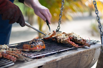 Lobster on the bbq at Tobago Cays